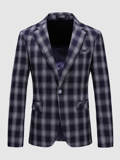 Navy Check Men's Casual Suit Jacket Blazer