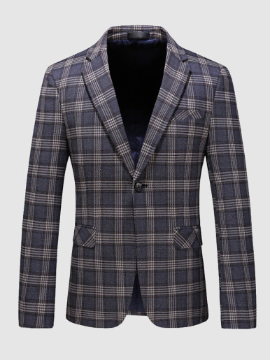 Slim Blazer Men's Check Suit Jacket
