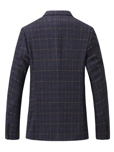Checked Suit Jacket Fitted Men's Blazer
