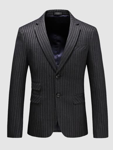 Stripe Blazer Men's Business Suit Jacket