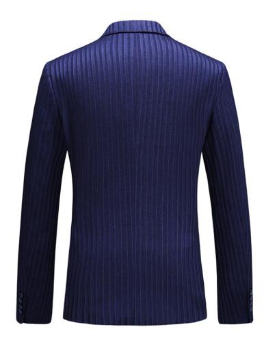 Men's Blue Blazer Stitch Detail Stripe Suit Jacket