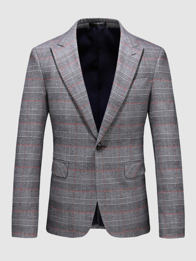 Based Check Men's Blazer Casual Suit Jacket