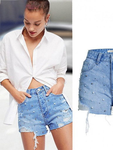 Beaded Ripped Denim Shorts for Women