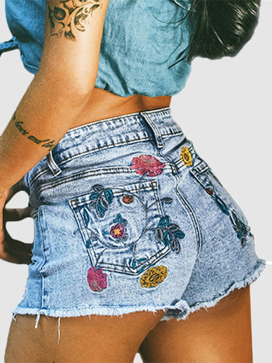 Flower Embroidery Denim Shorts with Raw Hem