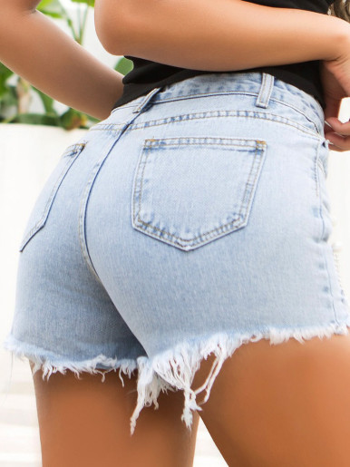 Light Blue Wash Denim Shorts with Embellished