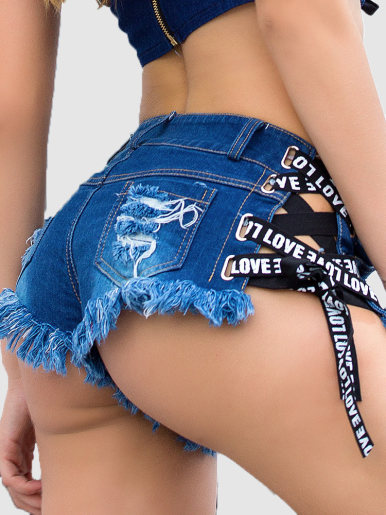 Distressed Denim Shorts with Tie Side and LOVE Taping