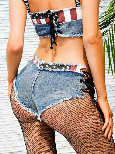 American Flag Denim Shorts with Eyelet Lace Up Side