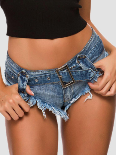 Low Waist Thong Denim Shorts with Belt