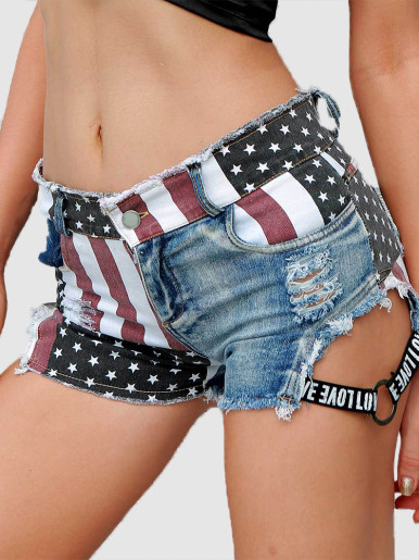 Flag Print Denim Shorts with Logo Tape Side