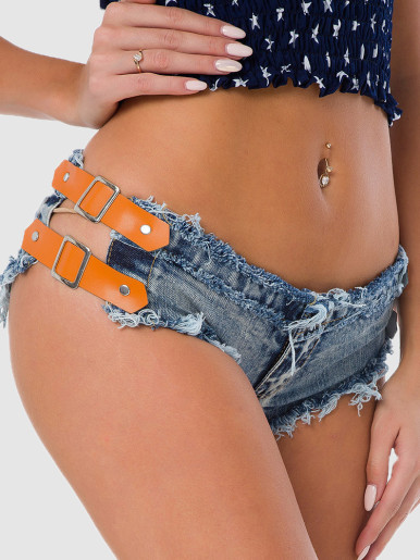 Buckle Side Denim Shorts