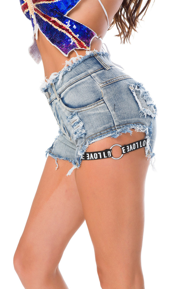 High Waist Denim Shorts with Side Logo Tape
