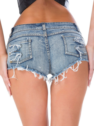 Low Waist Cut Out Denim Shorts