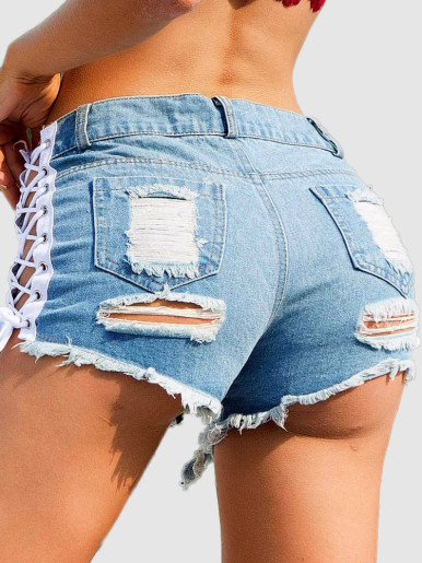 Denim Shorts with Lace-Up Side and Heavy Rips