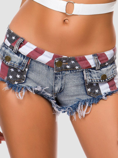 Flag Print Super Short Denim Shorts