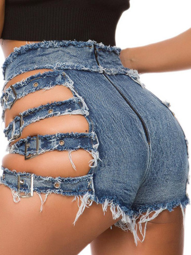 Distressed Denim Shorts with Straps Buckle Side