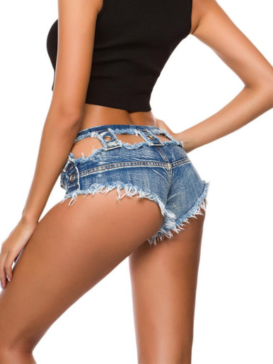 Cut Out Denim Shorts with Stud Detail