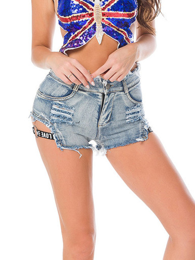 High Waist Denim Shorts with Side Logo Tape