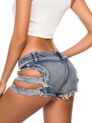 Denim Shorts with Diamond Strap Side