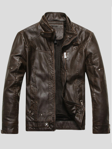 Plus Size Faux Leather Warm Lined Men Biker Jacket