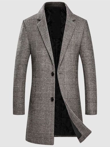 Thick Men Wool Check Coat