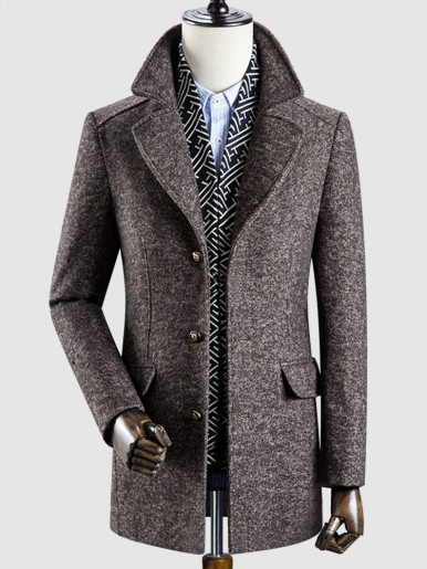Detachable Scarf Men Thick Tweed Trench Coat
