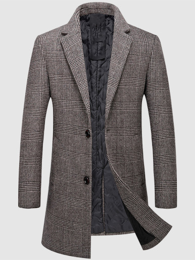 Filling Cotton Lined Men Wool Coat