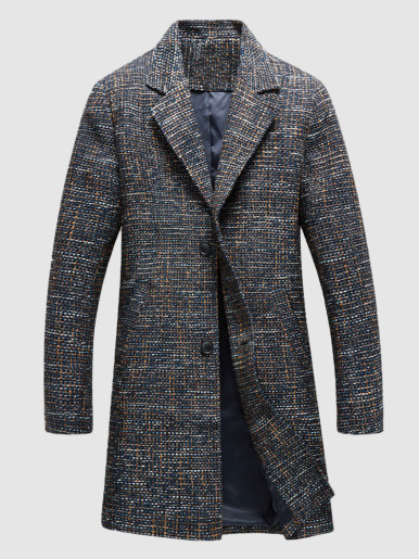 Multi Tweed Men Trench Coat