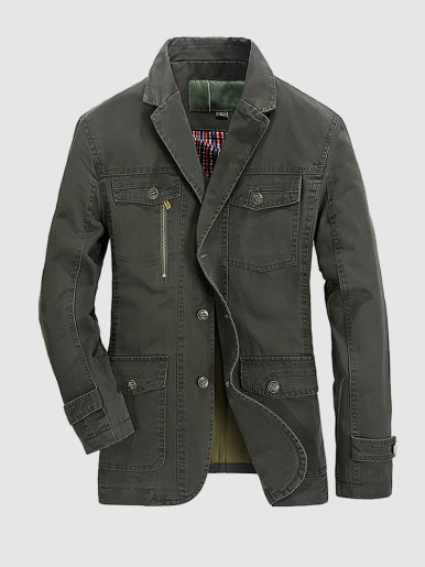 Military Style Men Suit Utility Jacket