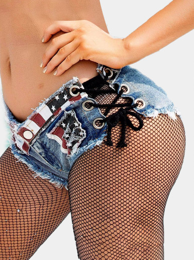 Low Waist American Flag Denim Shorts