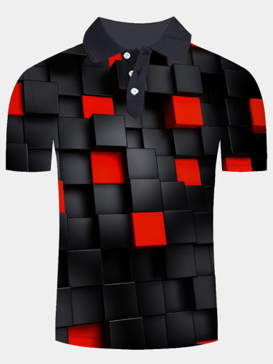 Short Sleeve 3D Print Polo Shirt