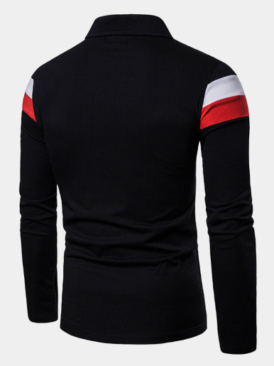 Long Sleeve Polo Shirt with Contrast Panels