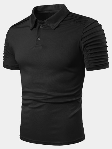 Short Sleeve Textured Polo Shirt with Pleat Detail