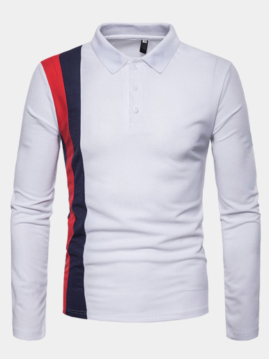 Polo Shirt with Vertical Colour Block