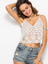 OneBling Crochet Lace Scalloped Edge Crop Cami Tops