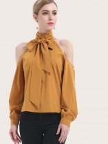 OneBling Open Shoulder Turtleneck Blouses with Bow Tie Detail