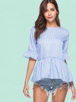 OneBling Keyhole Back Ruffles Cuff and Hem Pinstripe Blouses