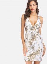 OneBling Cross Back Sequins Embroidery Mini Plunge Dress