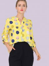 Ink Spot Print Button Front Rolled Up Sleeve Blouses
