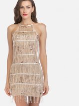OneBling Cross Back High Neck Tiered Fringe Pencil Dress with Sequins Embellishment