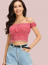 Shirred Hem Short Sleeve Bardot Tops In Spot Print