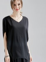 OneBling Raglan Sleeve Draped Detail Side Split V-Neck T-Shirt