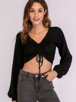 OneBling Tie Front Ballon Sleeve V-Neck Crop Tops