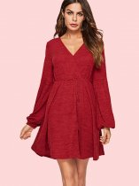Ballon Sleeve Tie Waist V-Neck Fit and Flare Dress
