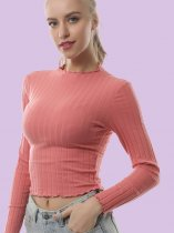 OneBling Lettuce Trim Textured Striped Slim Fit Crop Tops with Wrist Sleeve
