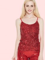 OneBling Slim Fit Sequins Cami Tops
