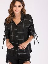 Tie Sleeve Ruched Letter Print Check Shirt with Curved Hem