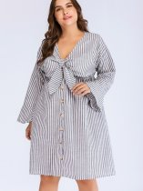 Plus Size Bow Detail Button Front Fluted Sleeve Shirt Dress In Striped