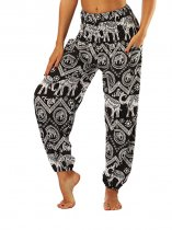 OneBling Tribal and Chevron Print Shirred Waist Pants