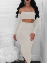 OneBling Tie Back Off Shoulder Tops and Midi Skirt Glitter Set