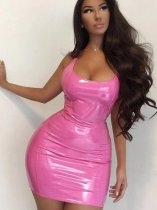 OneBling Zipper Back Bodycon PU Dress